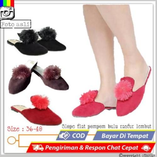 Foto Produk SR64- sandal selop teplek sandal flat pompom wanita bulu rasfur lembut dari Dinasti Shoes