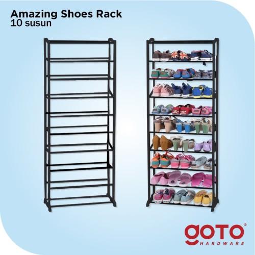 Foto Produk Amazing Portable Shoe Rack Rak Sepatu Lipat 10 tingkat Susun Murah - Putih dari GOTO Hardware