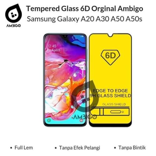 Foto Produk Samsung A20 A30 A50 A50s Tempered Glass 6D Full Cover Ambigo - Hitam dari Jagonya Case