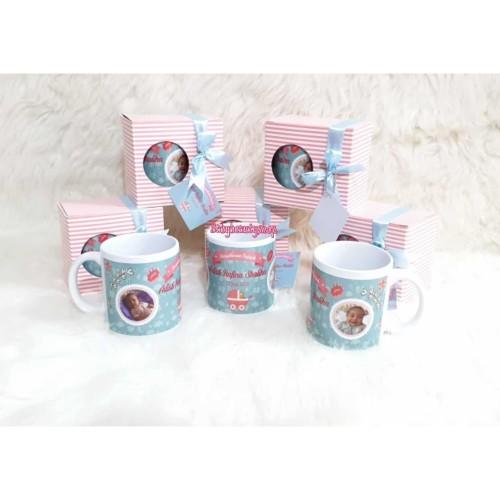 Foto Produk Souvenir Mug Custom Request Tasyakuran Aqiqah baby dari We_Print_Mahakarya