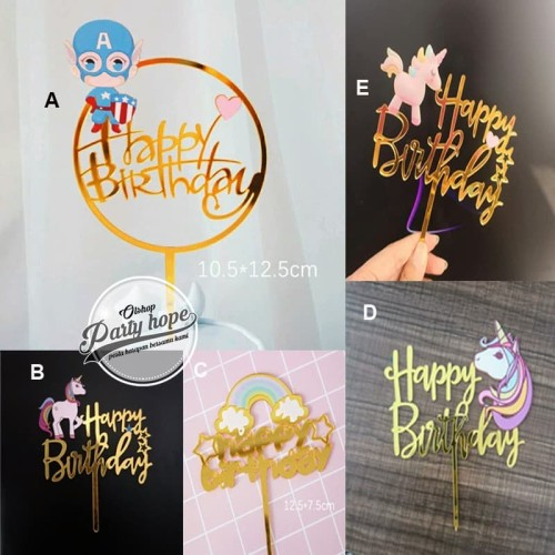 Foto Produk Cake topper happy birthday / tusukan hiasan kue acrylic aneka motif dari PARTY HOPE 2