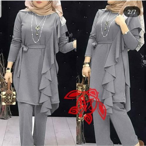 Foto Produk setelan naura layer#set naura layer#set naura#set wanita#pakaian wanit - Abu-abu dari Batoo