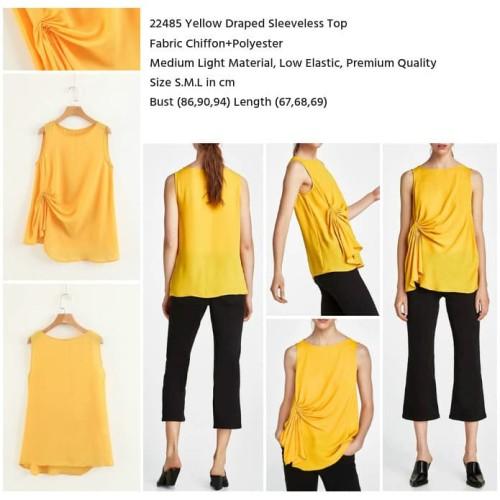Foto Produk HQ22485 Yellow Draped Sleeveless Top Blouse Wanita Baju Tanpa Lengan - S dari Shopflorence