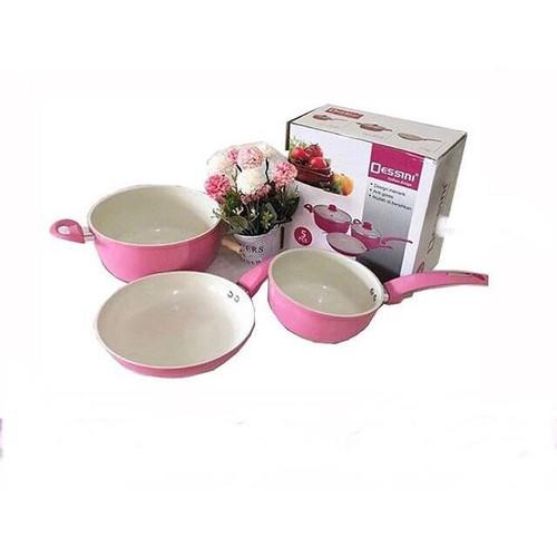 Foto Produk DESSINI CERAMIC COOKING SET 5 PCS Panci BAHAN TEBAL ANTI LENGKET - Merah Muda dari Cellis Houseware