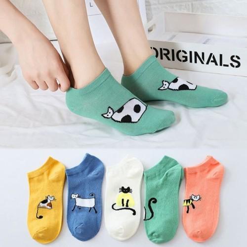 Foto Produk KK019 Kaos Kaki Pendek Funny Cat Wanita Low Socks - pink dari EnnWen Online Store