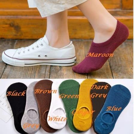 Foto Produk KK023 Kaos Kaki Pendek Japanese Cool Solid Line Wanita - dark grey dari EnnWen Online Store
