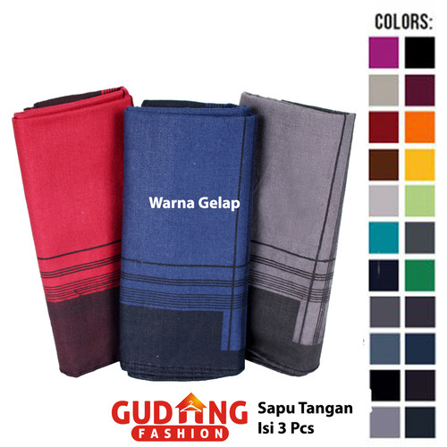 Foto Produk Sapu Tangan Pria Dewasa Katun Multi Colour SPT 100 - Warna Gelap dari Gudang Fashion