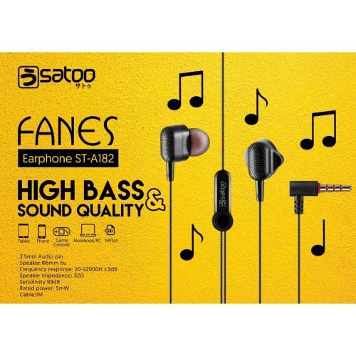 Foto Produk SATOO FANES Headset Earphone Handsfree High Bass With Microphone - Putih dari EAONLINE
