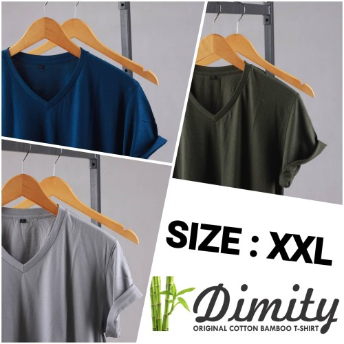 Foto Produk Kaos Polos Katun Bambu V-NECK (Cotton Bamboo) XXL dari DIMITY