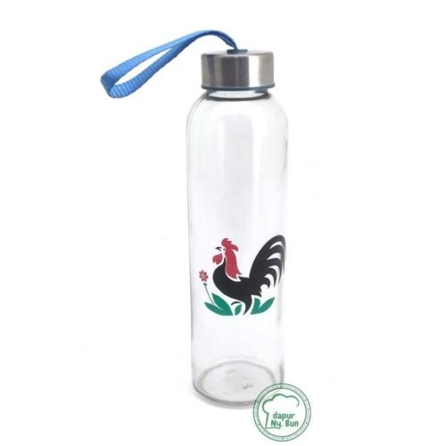 Foto Produk 1 Pc Botol Minum Kaca AYAM JAGO / Ukuran 500ml / Round Bottle / Besar dari Dapur Ny.Bun