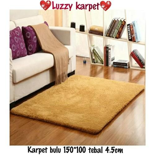 Foto Produk Karpet bulu lembut 150*100 Tebel 4cm - brown dari Luzzy Distibutor Karpet