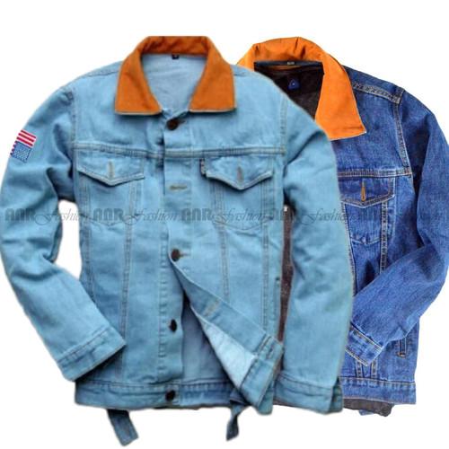 "Foto Produk Jaket Jeans Denim ""Dilan 1990"" - Biru Muda / BioBlitz / Biru Dongker - Biru Muda, M dari AnR-Shop"