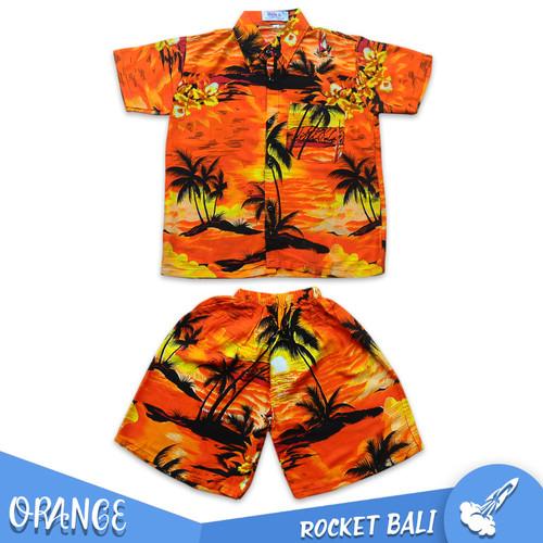 Foto Produk Baju Anak Khas Bali - Baju Pantai Anak - Setelan Anak Pantai Khas Bali - Orange, M dari Rocket Bali