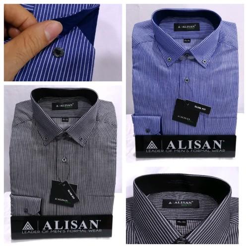 Foto Produk Kemeja Pria Alisan Panjang Slimfit Office Formal Stripe Biru Hitam - Hitam, S dari Mega Hero Shirts