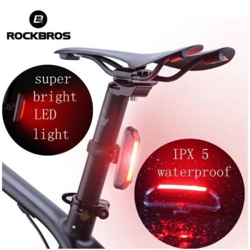 Foto Produk Rockbros Lampu Sepeda Belakang LED Recharge USB Waterproof 3 Mode dari Rockbros Bike