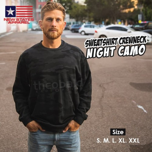 Foto Produk New States Apparel 9000 Sweatshirt Crewneck Night Camo (S M L XL XXL) - Black Camo, S dari Kaos Polos Theobald