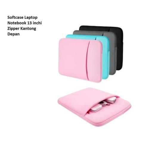 Foto Produk SCL04 Softcase Laptop Notebook 14 inchi Zipper Kantong Depan - BLUE dari Dneo Store
