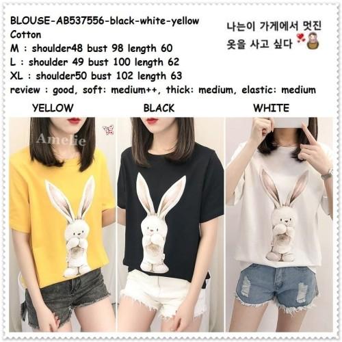 Foto Produk AB537556 Baju Atasan Wanita Kaos Bunny Blouse Korea Import Hitam Putih dari Amelie Butik Wholesale