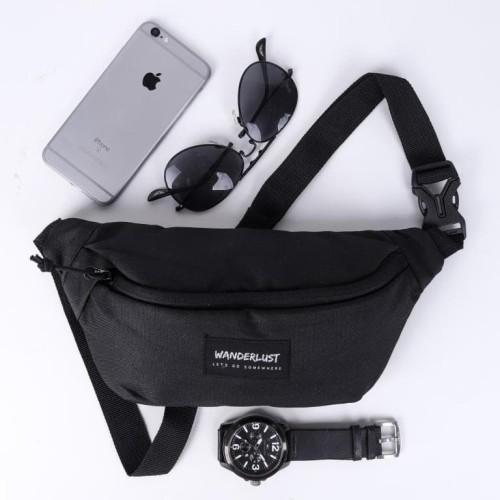 Foto Produk Zagreb Black Wanderlust | Waist bag tas selempang tas pinggang travel dari Wanderlustbag Official