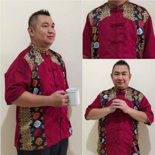 Foto Produk Baju Cina Jumbo Rico batik Imlek lengan pendek Pria - M dari Angelsammy shop