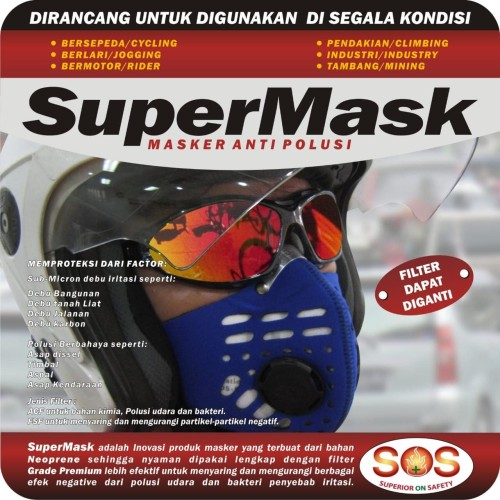 Foto Produk Masker Motor Anti Polusi SuperMask SOS Filter Debu Udara 0.3 micron - Hitam dari lbagstore