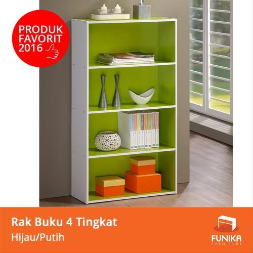 Foto Produk FUNIKA 11242 GR-WH - Rak Buku 4 Tingkat - Hijau Putih FTR3 dari Tiara_22