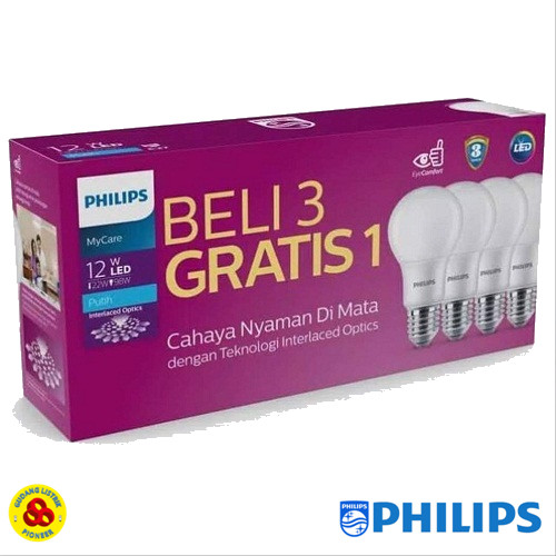 Foto Produk PHILIPS LAMPU LED MYCARE 12W PAKET LED BULB 12 WATT ISI 4 PUTIH dari Gudang Listrik