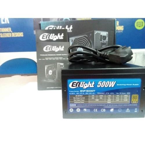 Foto Produk Power Supply Enlight Black Silver 500 Watt 80+ Bronze Garansi 5 Tahun dari PojokITcom Pusat IT Comp