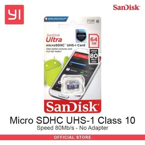 Foto Produk Sandisk Micro SD Class 10 - 64Gb - No Adaptor MicroSD ultra dari Yi Official Store