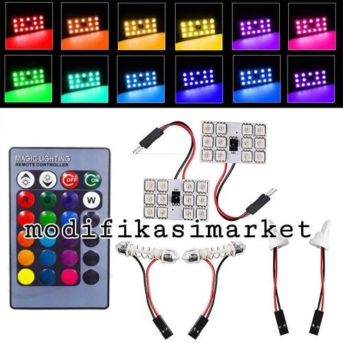 Foto Produk LED PLAFON RGB LED KABIN RGB DENGAN REMOTE LED T10 FESTOON RGB dari Modifikasi Market