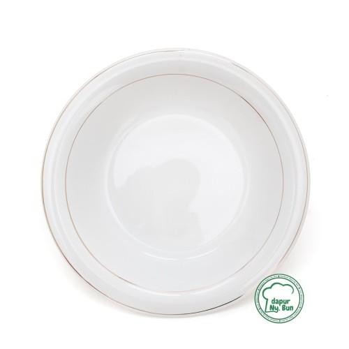 Foto Produk Piring Makan Omega List Emas Ukuran 23cm / Piring Keramik 9Inch dari Dapur Ny.Bun