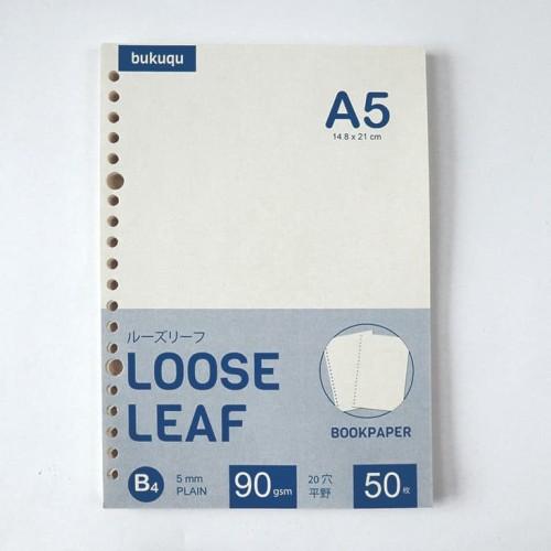 Foto Produk Bookpaper Loose Leaf (PLAIN) Kertas Binder/ Isi Notes - (A5) 50 lbr - polos dari Bukuqu