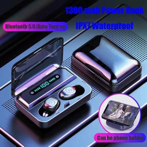 Foto Produk Headset Bluetooth LED Digital TWS F9 IPX7 Waterproof Wireless Airdots - Putih dari King Grosir Indo