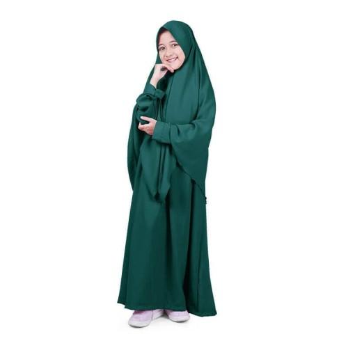 Foto Produk Bajuyuli - Baju Muslim Anak Perempuan Gamis Syar'i Polos Hijau WSHB01 - L dari Bajuyuli