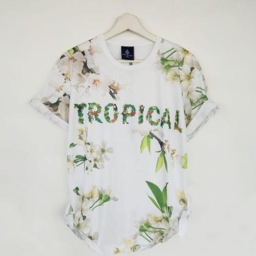 Foto Produk Kaos 3D Print Tropical White Baju Distro Artis Tshirt Unisex Pria Cowo dari WendyStore