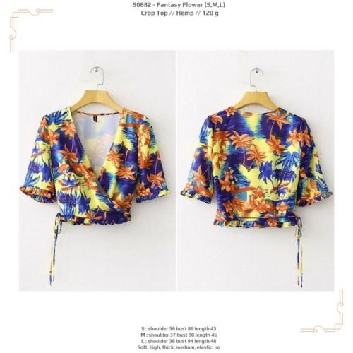 Foto Produk 50682 Fantasy Flower Crop Top / Blouse Biru Kuning dari XineShop