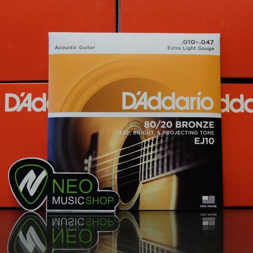 Foto Produk Senar Gitar Acoustic D' Addario EJ10 80/20 Bronze (Original) dari NEO MUSIC