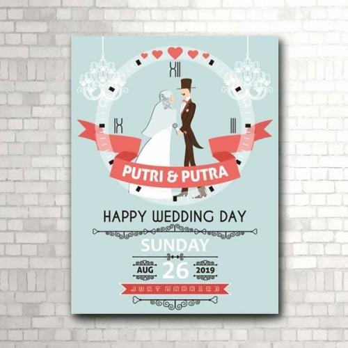 Foto Produk Kado Pernikahan, jam dinding HAPPY WEDDING model hijab (kode W-731-H) dari rookie woodwork