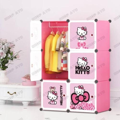 Foto Produk Lemari pakaian rak susun plastik lemari baju anak 6 pintu hello kitty dari SHOP AYU