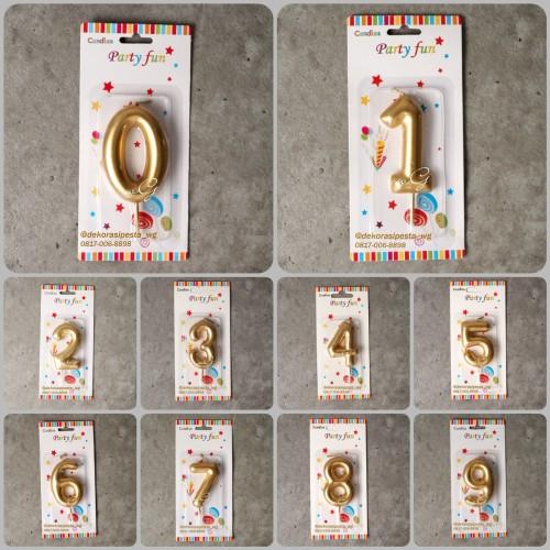 Foto Produk Lilin Ulang Tahun Angka 0 - 9; Gold / Emas - Nol dari toko pita wg