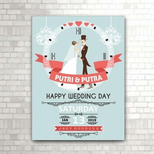 Foto Produk Kado Pernikahan, jam dinding HAPPY WEDDING (kode W-731) dari rookie woodwork