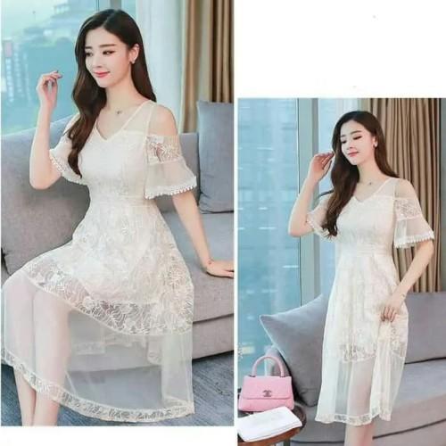 Foto Produk gaun putih brukat ala korea shea premium dari sheaplus