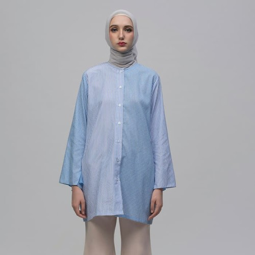 Foto Produk Biru garis kotak shirt - M dari ASK by Asky Febrianti