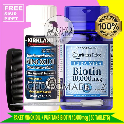 Foto Produk PAKET HEMAT KIRKLAND MINOXIDIL 5% + BIOTIN 10000mcg isi 50 / Minox - MINOX ISRAEL dari GEO POMADE