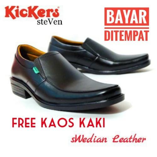 Foto Produk Sepatu kickers pantofel kulit steven swedia kerja kantor pria - Hitam, 40 dari toko sepatu dona