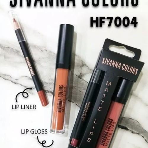 Foto Produk SIVANNA COLORS Matte lips 2 in 1 lip liner dan lip gloss HF7004 Ori dari Glow Little Shops
