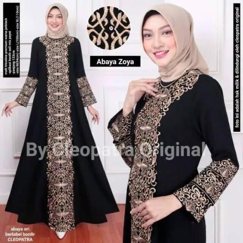 Foto Produk baju busana muslim abaya gamis hitam syari asdf bordir delisha dari GrosirAbaya
