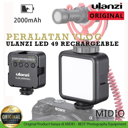 Foto Produk Ulanzi Video Led VL49 RECHARGEABLE BATTERY 2000MAH Lampu Studio Vlog dari Midio