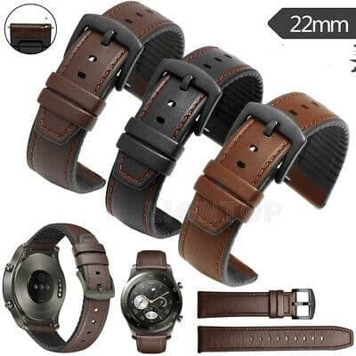 Foto Produk STRAP TALI JAM KULIT LEATHER RUBBER SAMSUNG GALAXY WATCH 46mm 22mm dari strapwatch hype