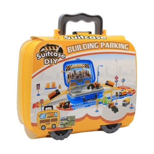 Foto Produk Mainan Anak Building Parking Play Set Koper - Mainan Mobil Konstruksi dari toy house